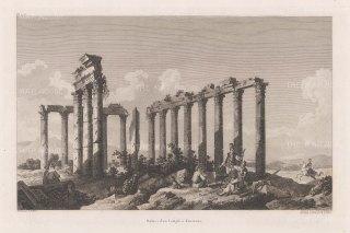 de Choiseul-Gouffier: Temple of Zeus Lepsynus, Eursmus. 1783. An original antique copper engraving. [TKYp1277]