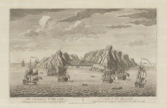 St. Helena: Panoramic view of the port controlled by the English East India Company from 1658 to 1814.