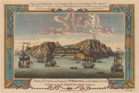 "Millar: St Helena. 1782. A hand coloured original antique copper engraving. 13"" x 8"". [AFRp938]"