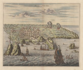 Azores: Tercera. Panorama of the harbour of Angra and the Portuguese fort of San Sebastian, based upon Johann Theodore de Bry's view of 1601.
