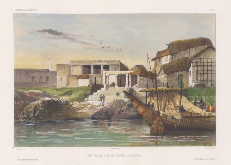 Hooghly River: View of a temple complex from the river. After Theodore-Auguste Fisquet, artist on the voyage of La Bonite 1836-7.
