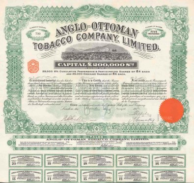 "Anglo Ottoman Tobacco Company Share certificate. 1913. An original colour antique mixed-method engraving. 16"" x 16"". [BONDp5]"