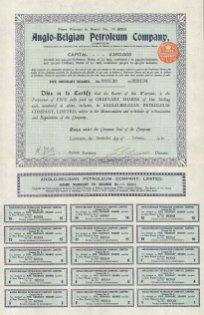 "Anglo Belgian Petroleum Company: Five ordinary shares. 1929. An original colour vintage mixed-method engraving. 11"" x 16"". [BONDp2]"