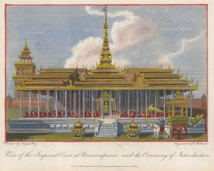 Ummerapoora (Amarapura). View of the Imperial court at the new capital of King Bodawpaya.