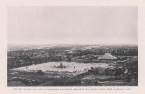 Atumashi Monastery and Mahalawka Marazein (Kuthdaw Stupa) from Mandalay hill before the fire of 1890.
