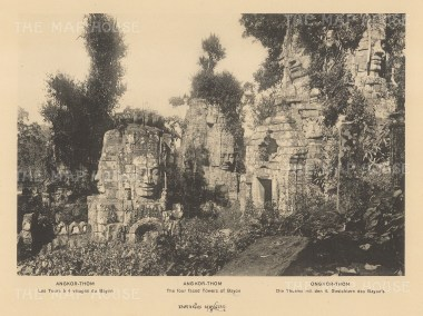 Cambodia: Angkor Thom. The four faced towers at Bayn. Published in Hanoi.