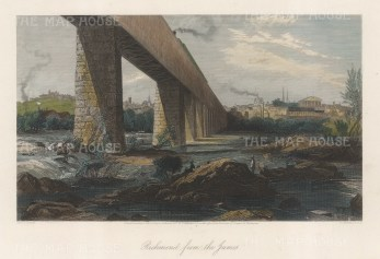 "Picturesque America: Richmond, Virginia. 1872. A hand coloured original antique steel engraving. 10"" x 8"". [USAp4860]"