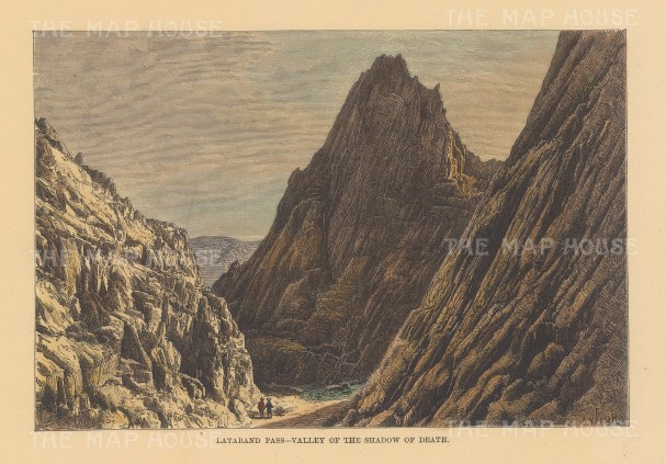 """Reclus: Valley of the Shadow of Death, Pass. 1894. A hand coloured original antique wood engraving. 8"""" x 6"""". [AFGp156]"""