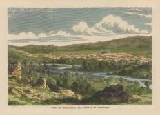 "Brown: Comayagua, Honduras. 1885. A hand coloured original antique wood engraving. 9"" x 6"". [CAMp193]"