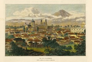 "Illustrated London News: Guatemala City, Guatemala. 1890. A hand coloured original antique wood engraving. 9"" x 6"". [CAMp202]"
