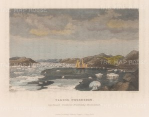 Cape Hussard, Grimble Isle, Brentford Bay and Brown's Island: HMS Victory 'Taking Possesion' (planting the British standard. 2nd Arctic Expedition 1829-33.