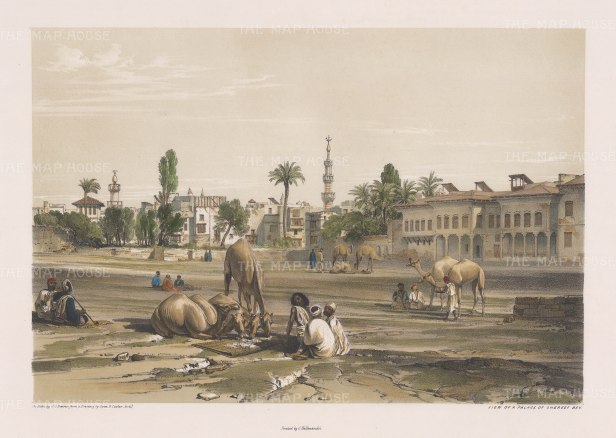 """Hay: Palace of Sherif Bey. 1840. An original colour antique lithograph. 16"""" x 12"""". [EGYp1019]"""