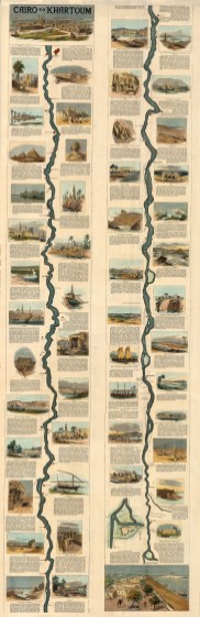 Cairo to Khartoum: Nile River. Showing the route from Cairo of the expedition led by Gen. Wolseley to relieve Gen. Gordon at Khartoum.