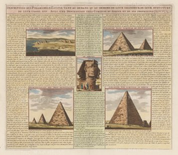 Giza: View of the Sphynx and and four examples of pyramids. With text in French relating to their design and history.