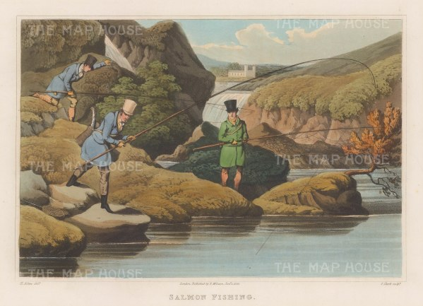 "Alken: Salmon Fishing. 1823. An original colour antique aquatint. 12"" x 9"". [FIELDp745]"