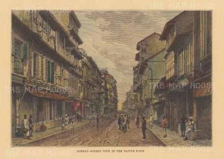 "Reclus: Mumbai (Bombay). 1894. A hand coloured original antique wood engraving. 8"" x 6"". [INDp1475]"