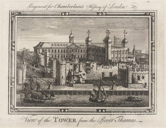 "Chamberlain: Tower of London. 1773. An original antique copper engraving. 7"" x 6"". [LDNp10529]"