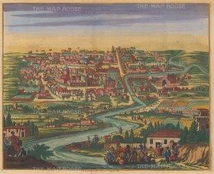 Iran: Kom (Qom). Panorama of the City and Qom River.