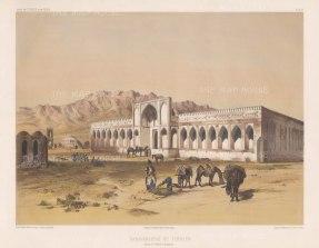 Iran: Tsensen: A caravan resting at an Inn on the route from Tehran to Isfahan.