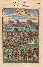 "Mallet: Medina. 1683. A hand coloured original antique copper engraving. 4"" x 6"". [MEASTp1541]"