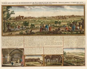 Bethlehem: Panorama of the city with vignettes of Nazareth, church of the Annunciation, and the church at Cana.