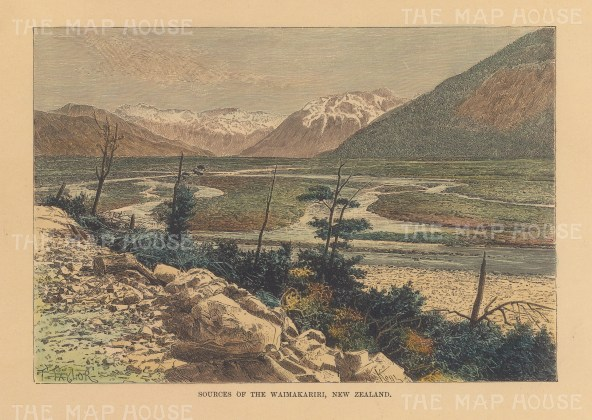 "Reclus: Waimakariri River. 1894. A hand coloured original antique wood engraving. 8"" x 6"". [NWZp291]"