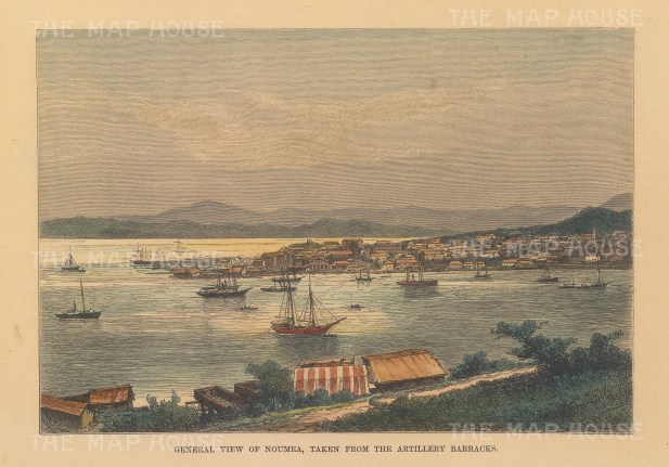 "Reclus: Noumea, New Caledonia. 1894. A hand coloured original antique wood engraving. 8"" x 6"". [PLYp253]"