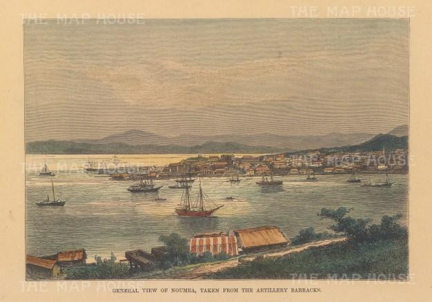 "Reclus: Noumea, New Caledonia. 1894. A hand coloured original antique wood engraving. 8"" x 6"". [PLYp253]"