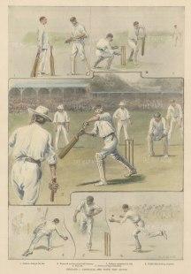 "ISDN: Ashes, Cricket. 1899. A hand coloured original antique photolithograph. 10"" x 14"". [SPORTSp3518]"