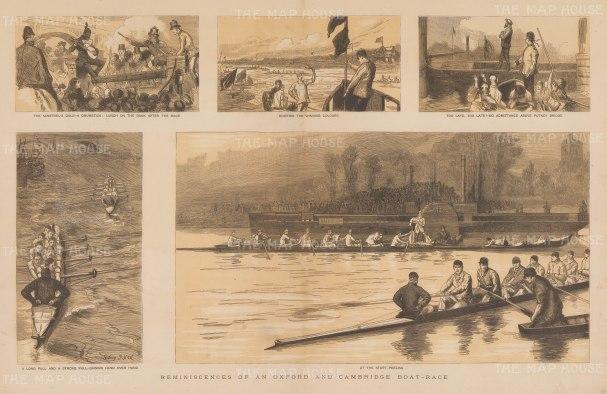 "Graphic Magazine: University Boat Race. 1884. An original tinted antique wood engraving. 20"" x 14"". [SPORTSp3611]"