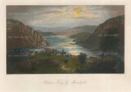 """Picturesque America: Harpers Ferry, West Virginia. 1872. A hand coloured original antique steel engraving. 10"""" x 7"""". [USAp4477]"""
