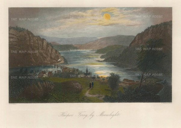 "Picturesque America: Harpers Ferry, West Virginia. 1872. A hand coloured original antique steel engraving. 10"" x 7"". [USAp4477]"