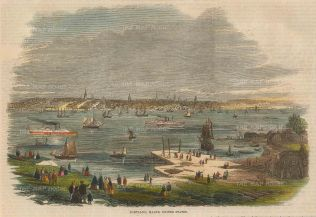 """Illustrated London News: Portland, Maine. 1859. A hand coloured original antique wood engraving. 9"""" x 6"""". [USAp4506]"""