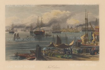 """Picturesque America: New Orleans, Louisiana. c1840. A hand coloured original antique steel engraving. 10"""" x 7"""". [USAp4729]"""