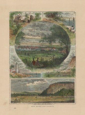 "Picturesque America: New Haven, Connecticut. 1876. A hand coloured original antique wood engraving. 10"" x 7"". [USAp4811]"