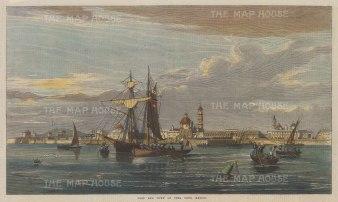 "Illustrated London News: Vera Cruz. 1867. A hand coloured original antique wood engraving. 14"" x 7"". [MEXp167]"