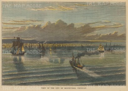 "Brown: Montevideo, Uruguay. 1885. A hand coloured original antique wood engraving. 7"" x 5"". [SAMp1146]"