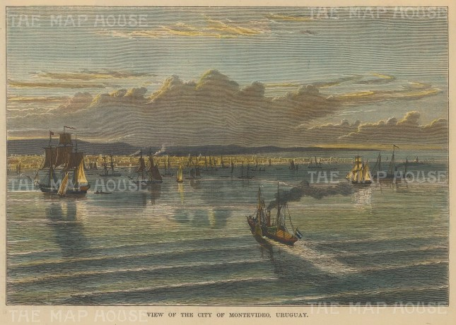 "Brown: Montevideo, Uruguay. 1885. A hand coloured original antique wood engraving. 7"" x 5"". [SAMp1146]"
