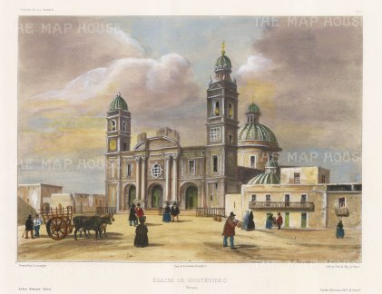 Uraguay: Montevideo. View of the Iglesia Matriz, the oldest church in Montevideo. After Barthélemy Lauvergne, artist on the voyage of La Bonite 1836-7.