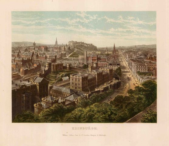 "Collins: Edinburgh. 1890. An original antique chromolithograph. 10"" x 8"". [SCOTp1689]"