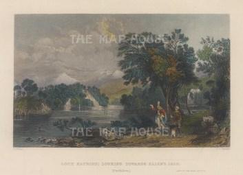 "Allom: Loch Katrine. 1836. A hand coloured original antique steel engraving. 8"" x 6"". [SCOTp1694]"