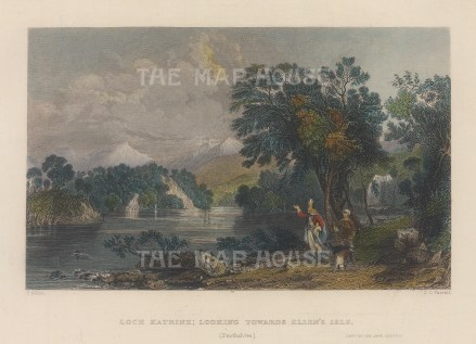 "Allom: Loch Katrine. 1836. A hand coloured original antique steel engraving. 8"" x 6"". [SCOTp1694]"