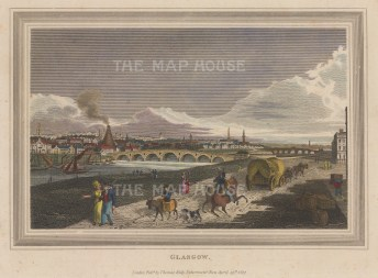"""Kelly: Glasgow. 1817. A hand coloured original antique steel engraving. 8"""" x 6"""". [SCOTp1699]"""