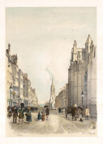 "Swarbreck: High Street, Edinburgh. 1837. A hand coloured original antique lithograph. 16"" x 12"". [SCOTp826]"