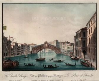 """Vigano: Ponte Rialto, Venice. 1850. An original colour antique lithograph. 9"""" x 7"""". [ITp2042]"""