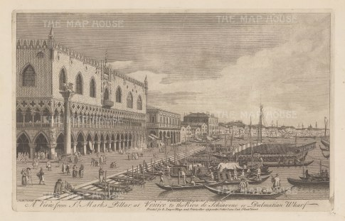 Palazzo Ducale and the Riva degli Schiavoni: Looking eastwards with the column of St Mark's to the left. After Antonio Canaletto.