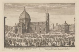 Florence: Panorama of Santa Maria del Fiore and Piazza del Duomo with the procession of Corpus Domini. After Giuseppe Zocchi.