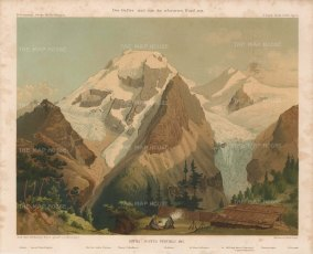 Ortles Alps with camp of von Payer who first mapped the Alps in 1865-68. With key.