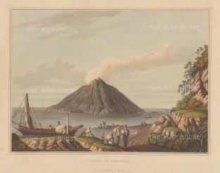 "Mayer: Stromboli. 1810. An original colour antique aquatint. 14"" x 10"". [ITp2252]"
