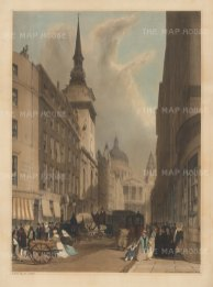 """St Paul's from Ludgate Hill with St Martin, Ludgate. To the right two Christ's Hospital scholars stroll and further up, above the street sign, another sign advertises """"Boys""""."""